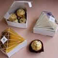Бесплатная доставка  100 шт./лот  Свадебная Упаковка конфет  подарочная коробка в форме ромбовидной коробки золотого и серебряного цвета