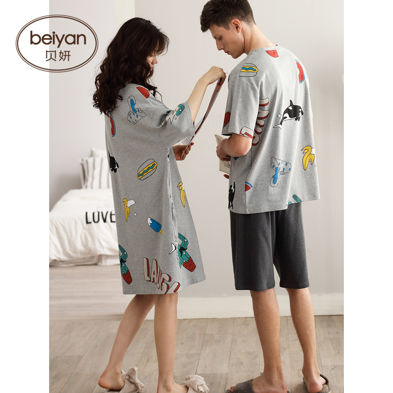 Sleepwear Cotton Men's Summer Short Large-Suit Loose Female Korean-Version