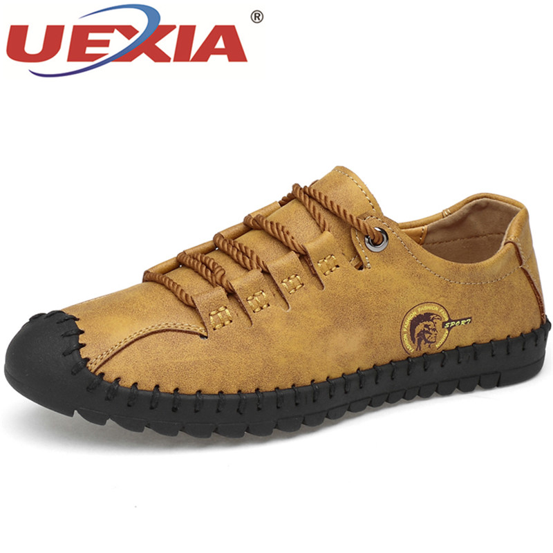 UEXIA 2019 New Outdoor Footwear Fashion Leather Spring Casual Men's Shoes Men Handmade Vintage Flats Hot Sale Moccasins Sneakers