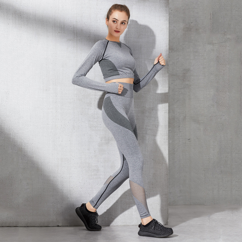 19 New Style Yoga Sports Suit 2-Piece Women's Indoor Running Fitness Suit Set Casual Slim Fit Spring And Autumn T550