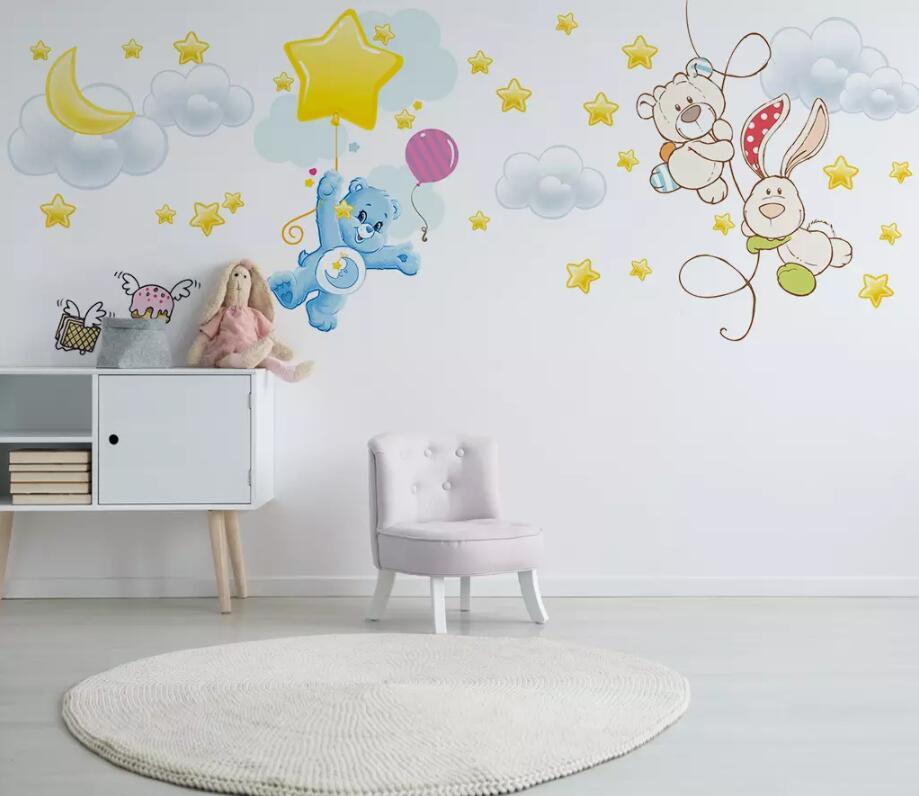 Dropship Custom 3D Wallpaper Mural Nordic Modern Minimalist Hand-painted Bear Children Room Wall Decoration Wallpaper
