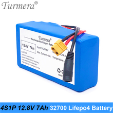 Turmera 12.8V 7Ah 4S1P 32700 Lifepo4 Battery with 4S 40A BMS Balancing  for Electric Boat and Car Uninterrupted Power Supply 12V