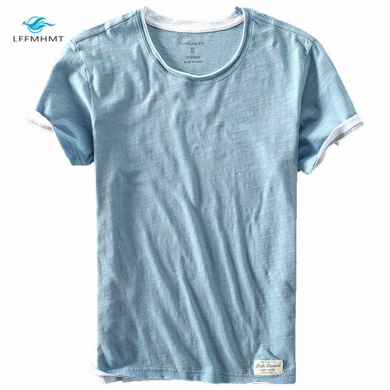 Mężczyźni moda lato marka japonia styl bambusa bawełna jednolity kolor koszulka z krótkim rękawem męskie na co dzień proste cienki biały Tee koszulki