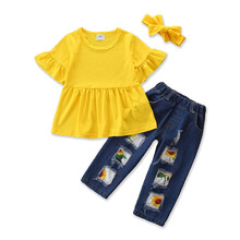 DFXD New Kids Summer Clothes Set Baby Girls Yellow Flare Sleeve Tops Print Ripped Jeans Pants With Headband Casual Clothing Sets цена 2017