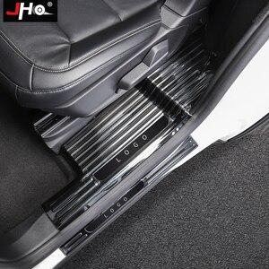 Image 4 - JHO placa de desgaste de umbral de puerta de acero inoxidable, Protector de Pedal de entrada, cubierta protectora para Ford Explorer 2020 2021, accesorios de coche