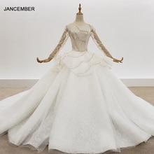 HTL1308 Gold And Silver Sequin Wedding Dress Long Sleeve Bead Wedding Dress Princess Backless Peplum Glitter Vestido De Noiva