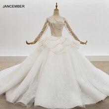 Золотистое и серебристое свадебное платье с блестками HTL1308, свадебное платье с длинным рукавом и бусинами, платье принцессы с открытой спиной и баской, блестящее платье