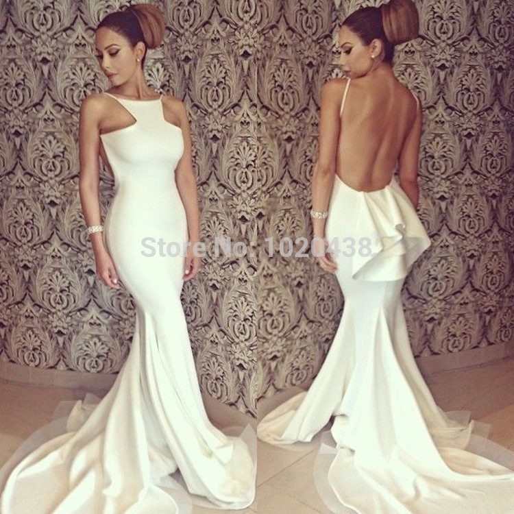 Sexy High Collar Sleeveless Open Back Formal Evening Gowns Beige 2018 Mermaid Prom Gown Discount Mother Of The Bride Dresses