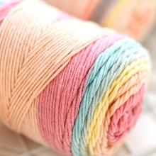 Pillow Blanket-Material Yarn Handmade Knitting Cotton Sewing Wool DIY Scarf Rainbow 5-Strands