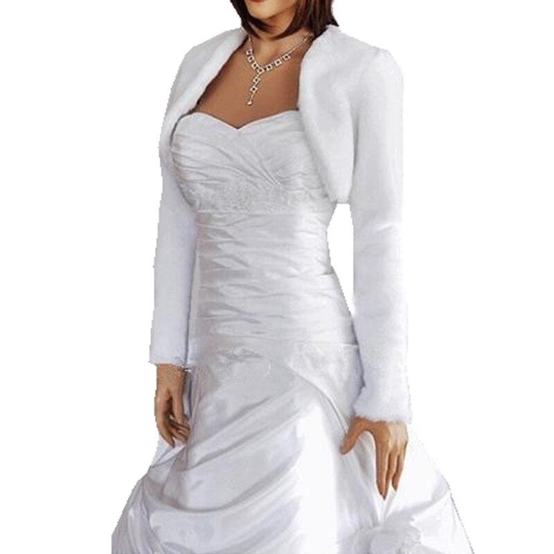 Белый/слоновая кость искусственный мех свадебные обертывания с длинными рукавами болеро Mariage в наличии Дешевые Свадебные Куртки/шоу свадеб...