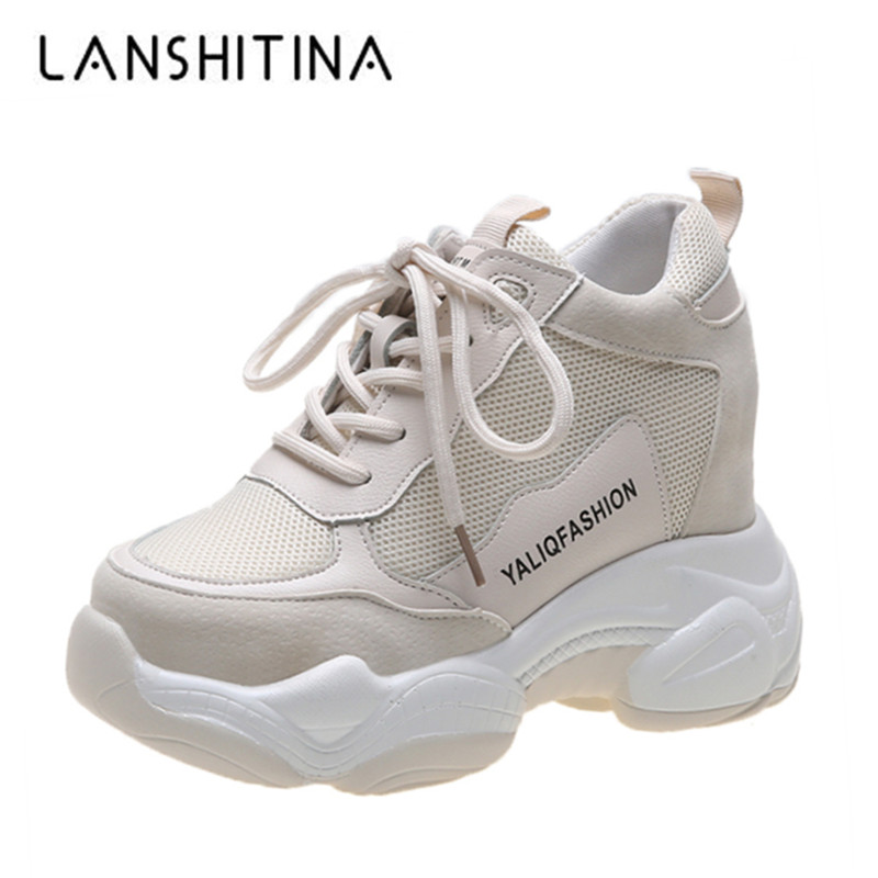 New 2019 Casual Women Shoes Height Increasing 10CM Ladies Shoes Breathable Leather Sneakers Platform Shoes Wedge Chunky Shoes