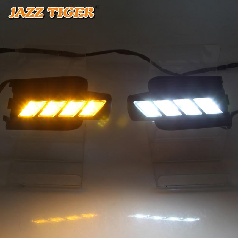 JAZZ TIGER желтое реле сигнала поворота 12 В Автомобильная DRL лампа Светодиодный дневной ходовой светильник Дневной светильник для Toyota Prado FJ120 LC120 ...