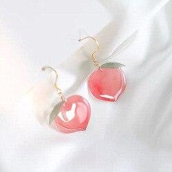 2020 New Arrival Korean Acrylic Trendy Pink Peach Drop Earrings For Women Girls Cute Sweet Jewelry Gift Fashion Fruit Oorbellen
