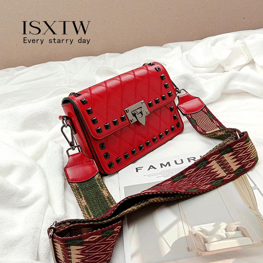 ISXTW 2019 PU New Bag for Women Fashion Rivet Diamond Small Square Bag Shoulder Slung Wide Shoulder Strap Retro Bag A23 in Top Handle Bags from Luggage Bags