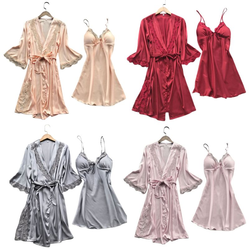 Womens Imitation Silk Sexy Kimono Robe Nightdress 2Pcs Sleepwear Set Solid Color Floral Lace Patchwork Pajama Camisole Nightgown