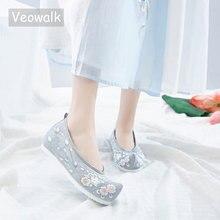 Veowalk, zapatos de invierno Vintage bordados con piel para mujeres, zapatos de punta blanca de algodón chino transpirable para mujeres