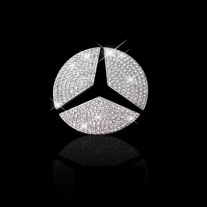 Car Steering Wheel Emblem 3D Rhinestone Logo Sticker With Diamond Decoration For Mercede Benz A/B/C/E/GLA/CLA/GLC/GLK/GLE Series