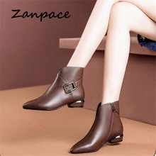 ZANPACE Fashion Women Boots Winter Zipper Retro Leather Shoes Pointed Toe Thick