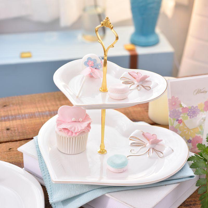 24k peint à la main or plateau en céramique plat en forme de coeur Double couche assiette à gâteau assiettes de fruits Dessert mariage chaîne assiette après-midi