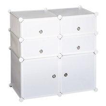 HOMCOM Armario Modular Plástico Estantería 6 Cubos Ropero Zapatero Aparador Combinado Pegatinas Adhesivas Decorativas