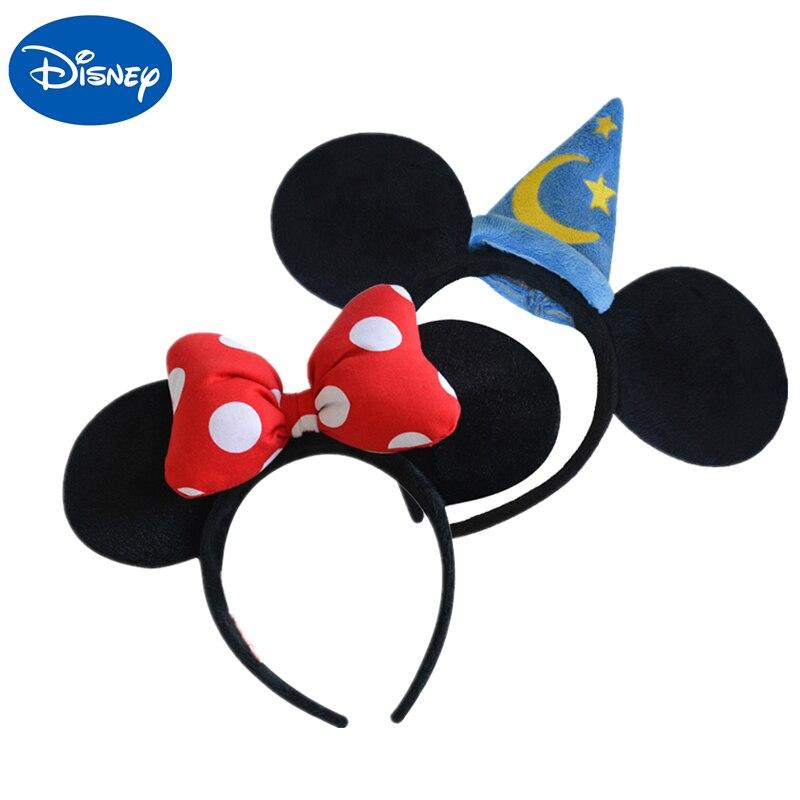 Оригинальная плюшевая игрушка-головной убор с Микки и Минни Маус, головной убор принцессы с ушками Микки и Минни для девочек, обруч на