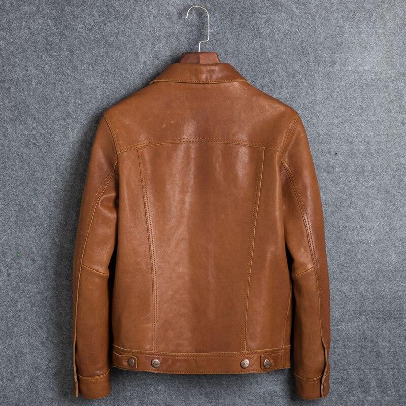2020 Genuine Leather Jacket Men Vintage Short Sheepskin Leather Jackets Jackets And Coats Cuero Genuino 0606 KJ2448