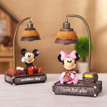 Дисней Микки Минни декоративный маленький ночной Светильник герои мультфильмов мальчик для девочек подарок на день рождения прикроватная лампа смоляная Ночная лампа