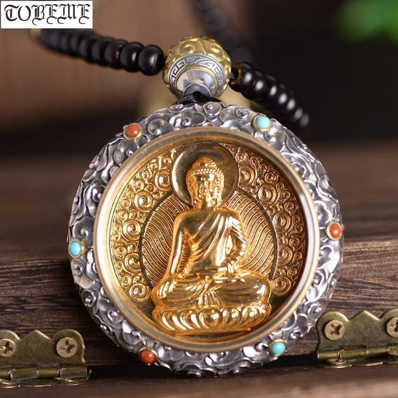 100% 925 argent tibétain Sakyamun bouddha pendentif bouddha Statue pendentif collier Sterling bouddha pendentif bonne chance collier