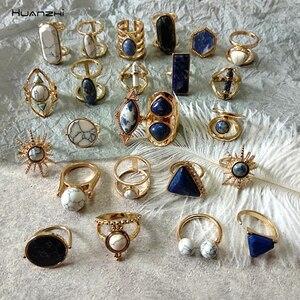 HUANZHI 2019 Retro Geometric Irregular Natural Stone Spar Gold Metal Marble Ring Finger Rings for Women Girl Party Exotic Gift