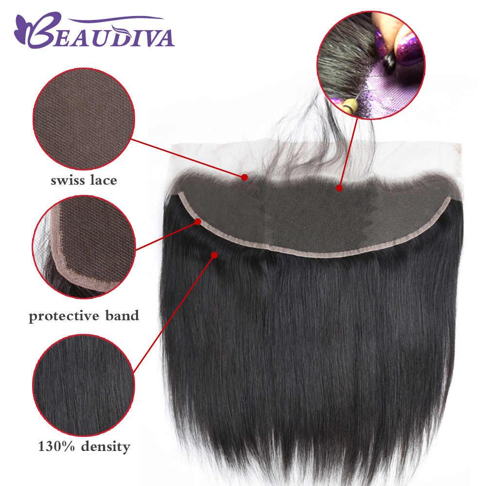 Düz saç demetleri ile Frontal 60g brezilyalı insan saçı demetleri Frontal Beaudiva remy düz saç kapatma ile