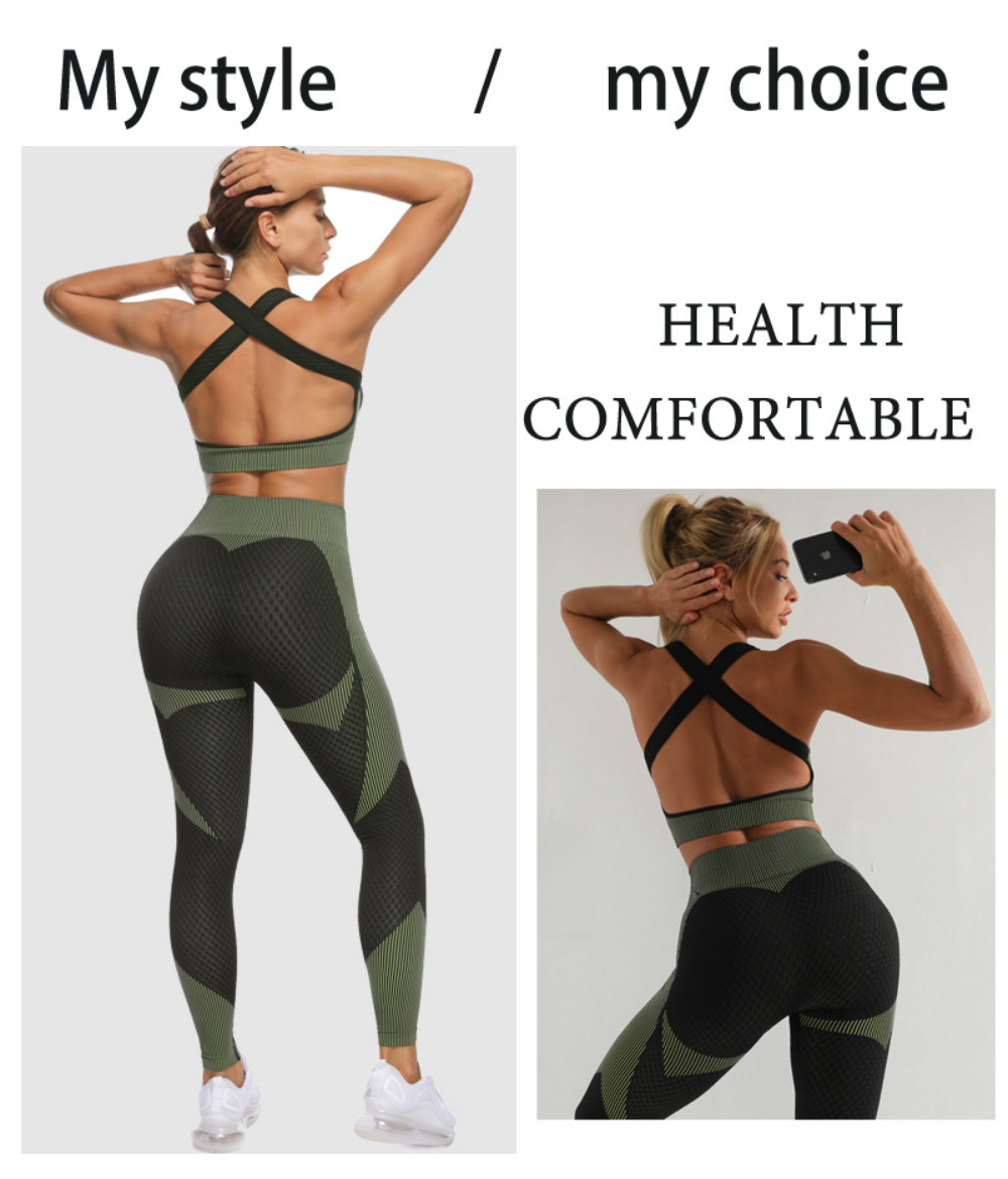GUTASHYE Sport Suit Woman Seamless Running Tracksuit Sportswear Gym Crop Top Yoga Pant Fitness Clothes Workout Leggings Yoga Set