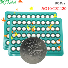 100PCS AG10 LR54 Cell Coin Alkaline Battery 1.55V