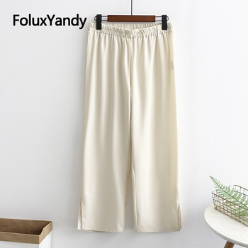 Loose Summer Pants Women Trousers Plus Size XXXL 4XL Casual Wide Leg Pants Beige Blue Black KKFY4720 pinkwin blue xxxl