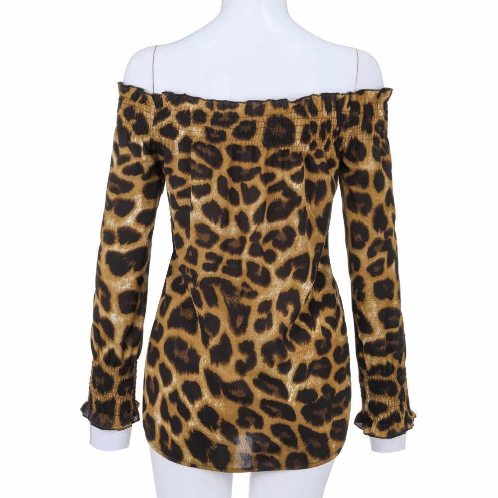 Wzór w cętki Off Shoulder Women top na co dzień głęboki dekolt Teeshirt nieregularne damskie z długim rękawem Casual bluzka damska bluza
