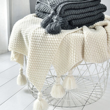 Thread Blanket with Tassel Solid Beige Grey Coffee Throw Blanket for Bed Sofa Home Textile Fashion Cape 130x170cmKnitted Blanket