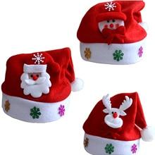 Pождество 1 шт. популярный мигающий костюм Санта-Клауса со светодиодный светильник кой, Красная шапка для вечеринки, детская шапка на Рождес...