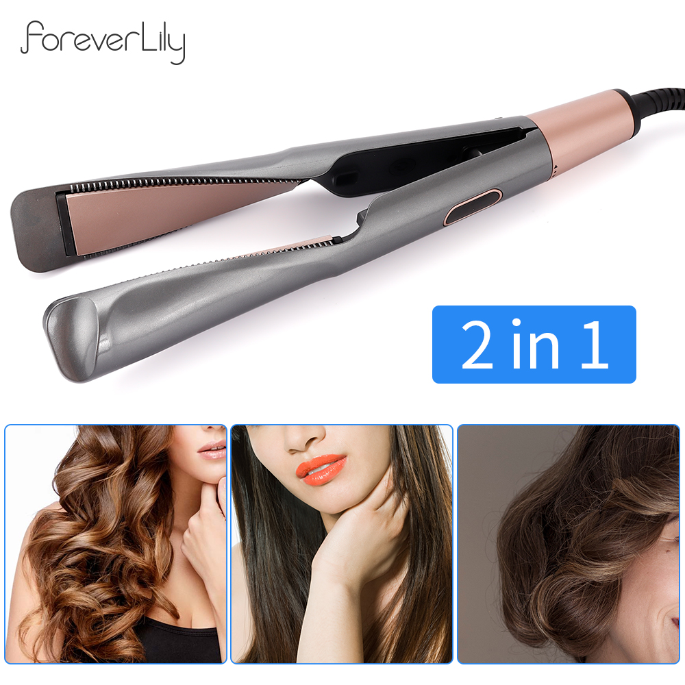 Professional Electric Curling Iron Hair Curler 2 In 1 Hair Straightener Flat Irons Ceramic Hair Salon Styling Tools