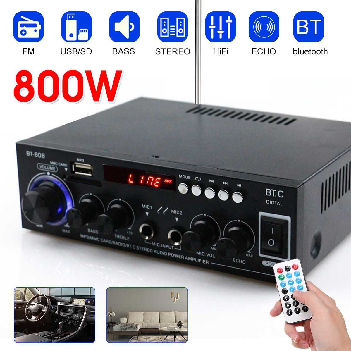 800W HIFI 2CH Audio Power Amplifier 110/220V Home Theater Sound System Audio Mini Amplifier FM USB SD Bluetooth W/Remote Control