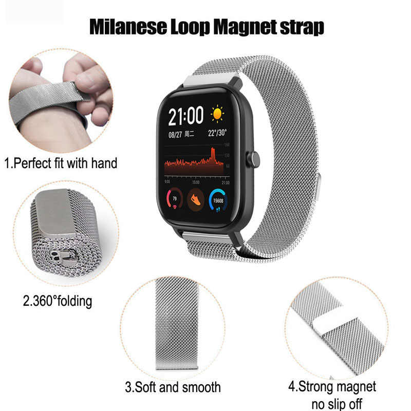 สำหรับ Xiaomi Amazfit GTS สร้อยข้อมือสายนาฬิกา Amazfit BIP นาฬิกา Amazfit GTR 42 MM Milanese สแตนเลส 20 มม.ซิลิโคน BAND
