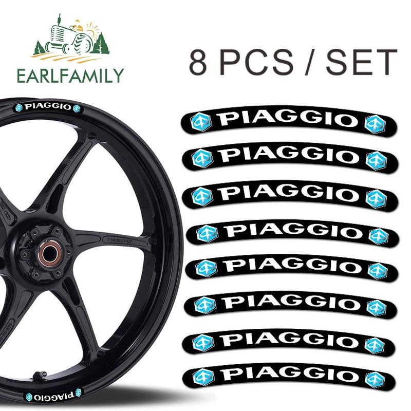 EARLFAMILY 13cm X 1.3cm 8x For Piaggio Rim Stickers Wheel Stripes Set Car Motorbike Motorcycle Racing Decal Flat Glue Sticker