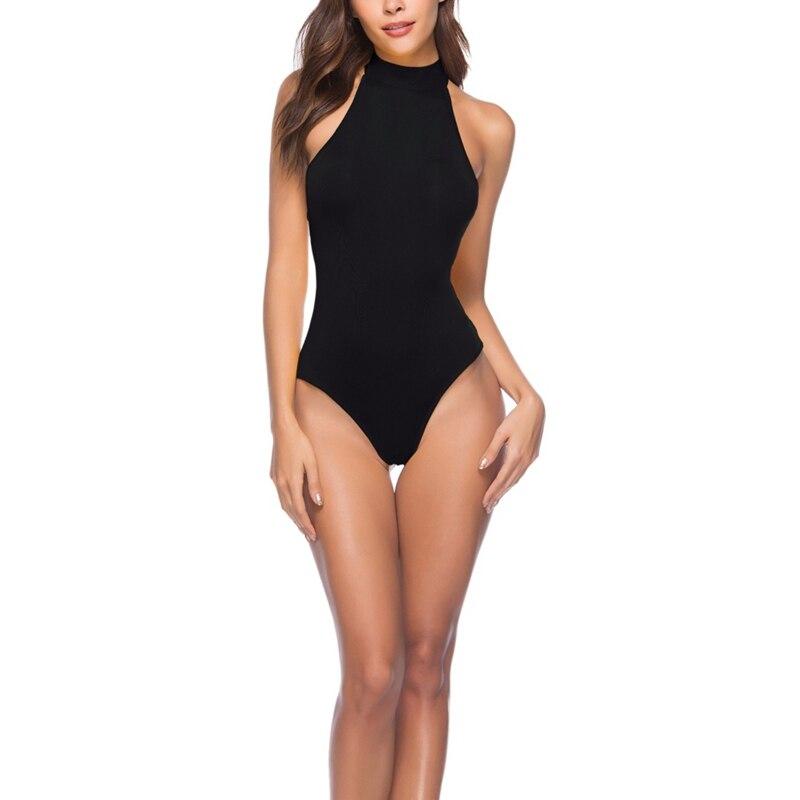2019 Women Summer Elegant New Style Fashion Design Sexy Halter Slim Halter Lace Solid Color Ladies Sleeveless Stretch Bodysuits