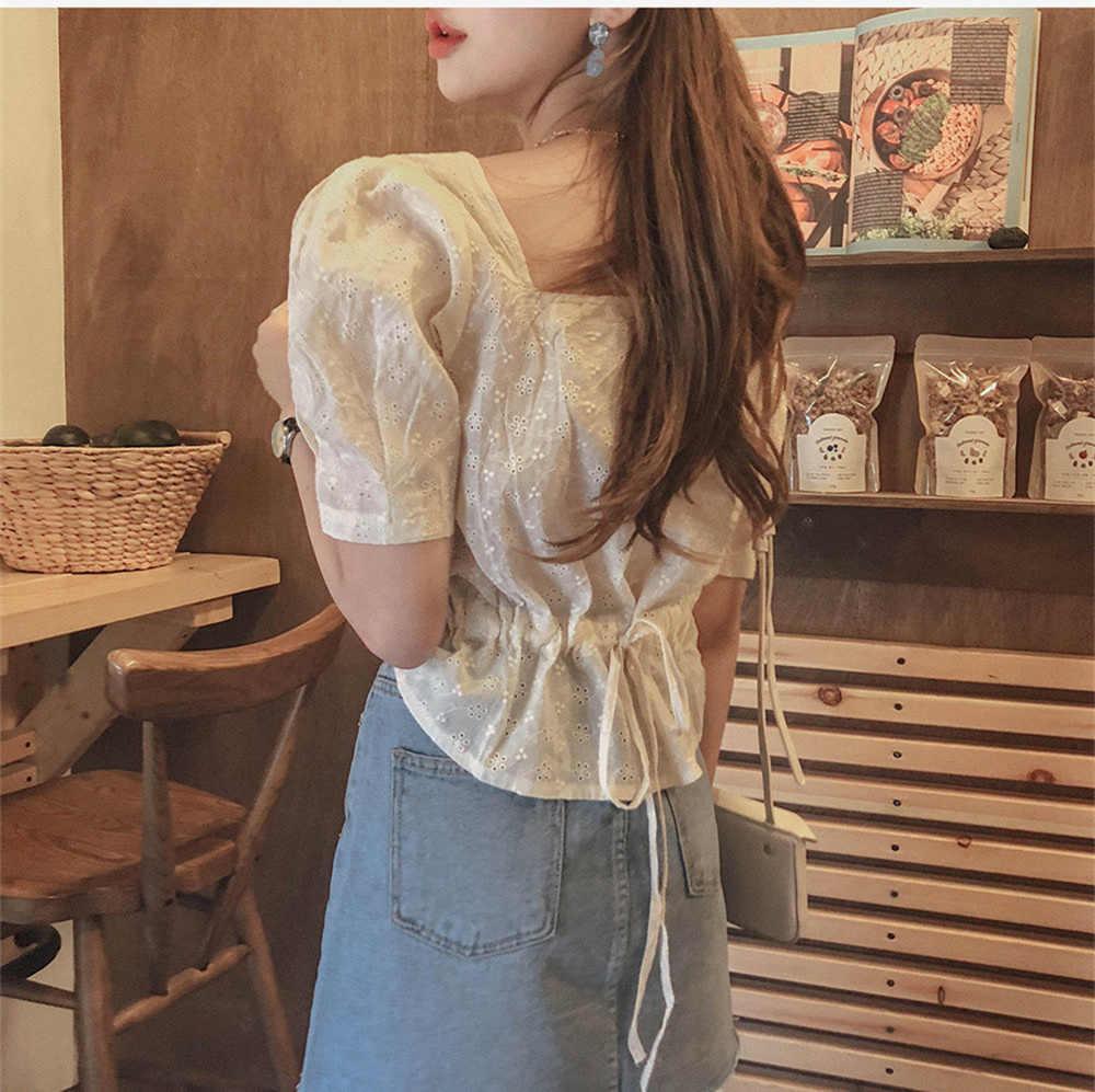 חדש כיכר רקמת תחרה חולצה קיץ חולצות femme מקרית נשים קצר שרוול פשתן כותנה בנות חולצה בתוספת גודל נשים חולצות