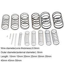 10 sztuk 0.9*8*10-50mm sprężyna ze stali małe zwolnienie kompresji mechaniczna sprężyna powrotna sprężyna dociskowa OD 8mm 0.9x8x10-50mm