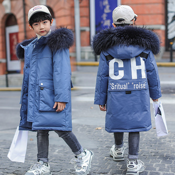 jacket 2019 winter new boy's Korean version medium length thickened large wool collar children's coat wholesale trend