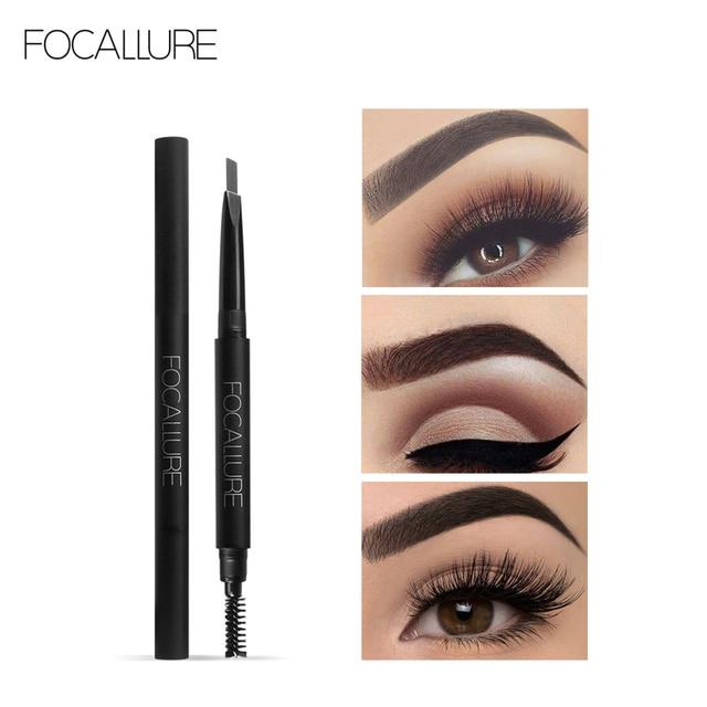 FOCALLURE Waterproof 3 colors eyebrow pencil easy to wear eye brow enhancer natural black brown gray professional eyebrow pen
