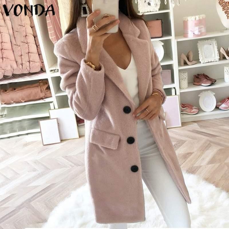 VONDA 2019 Women Autumn Winter Slim Trench Casual Button Pockets Solid Long Windbreaker Vintage Blends Coats Plus Size Outerwear