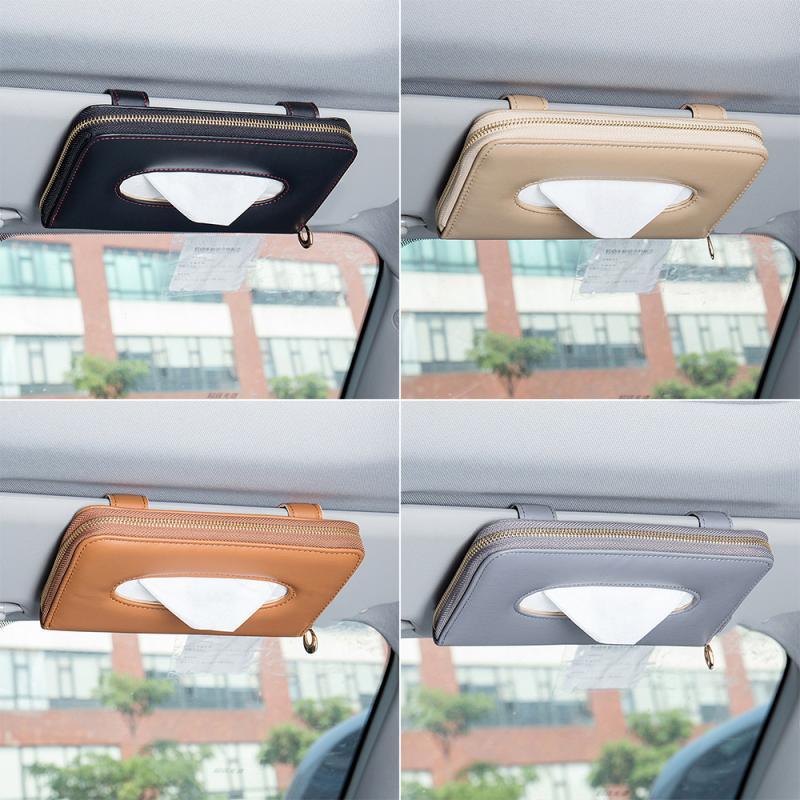 Saco de toalha de papel do carro da caixa do tecido da caixa do carro do assento de suspensão do carro do couro da multi-função caixa de toalha de papel da máscara