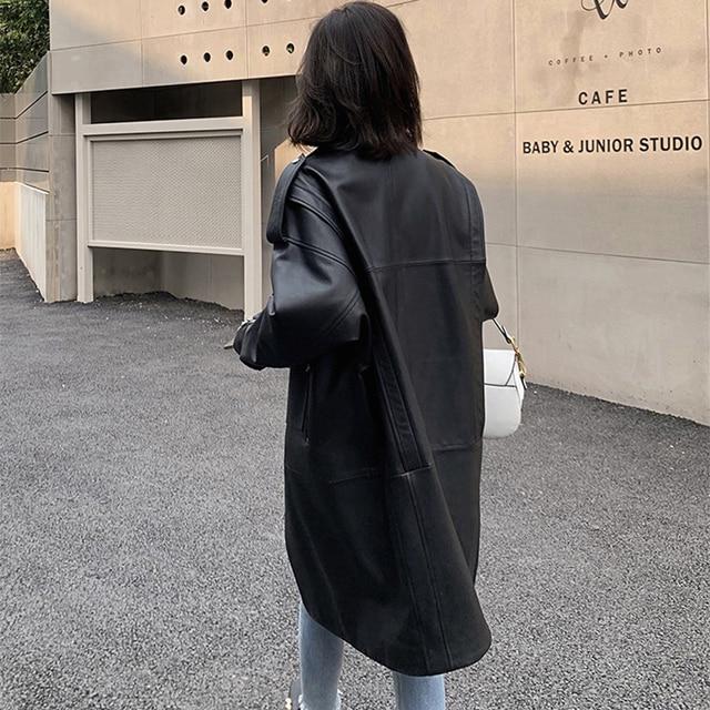 Nerazzurri surdimensionné noir long printemps femmes veste en cuir à manches longues goutte épaule fermeture éclair grande taille en vrac faux cuir manteau 2