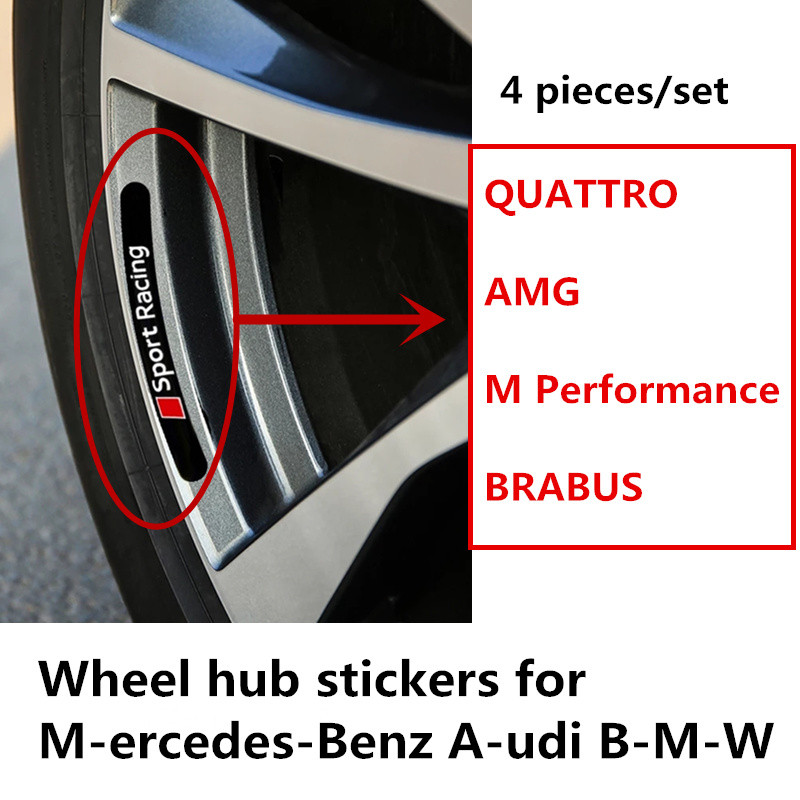 High quality aluminum QUATTRO AMG M Performance BRABUS car Wheel hub stickers with 3M on the back for M-ercedes-Benz A-udi B-M-W