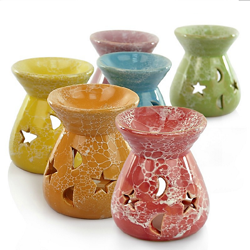 1Pcs Ceramic Essential Oil Lamps Hollow Stars Moon Pattern Simple Essential Oil Fragrance Tea Light Candle Holder  S $